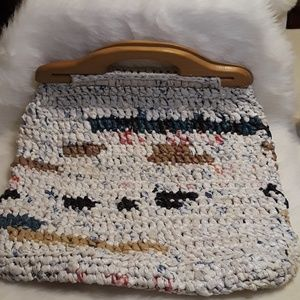 Vintage handmade crochet plastic bag purse